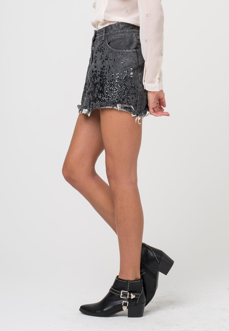 RELIGION Dash Denim Skirt Washed Black