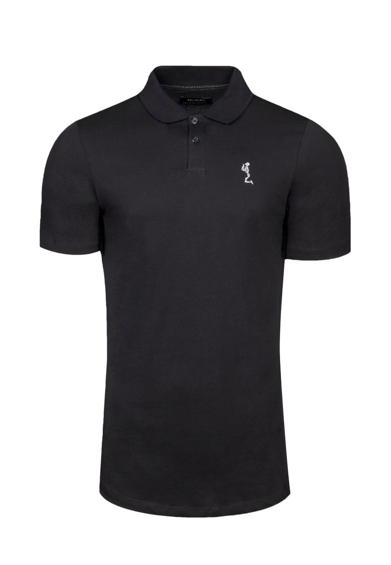 RELIGION Curved Hem Classic Black Polo