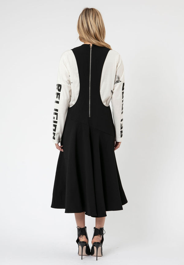RELIGION Void V-Neck Racer Back Black Midi Dress