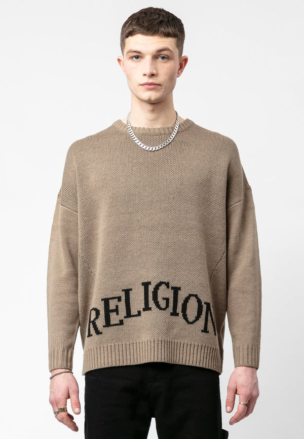 RELIGION College Oversized Taupe Knit