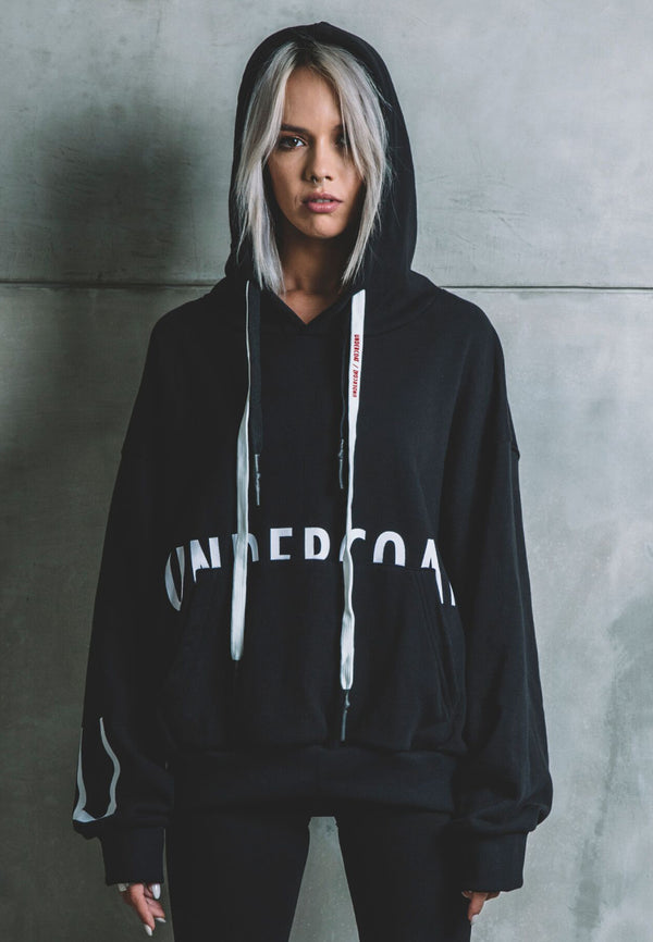 UNDERCOAT Home Oversized Black Hoodie