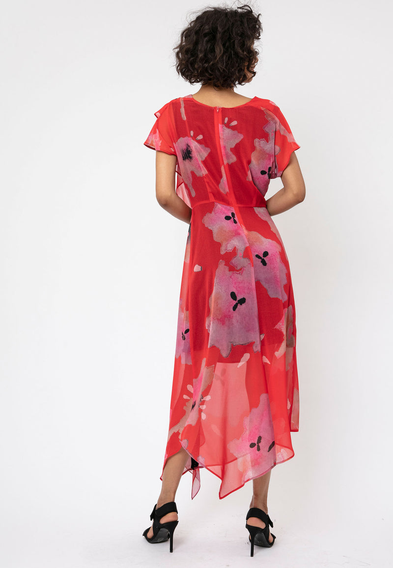RELIGION Titan Floral Print Red Midi Dress
