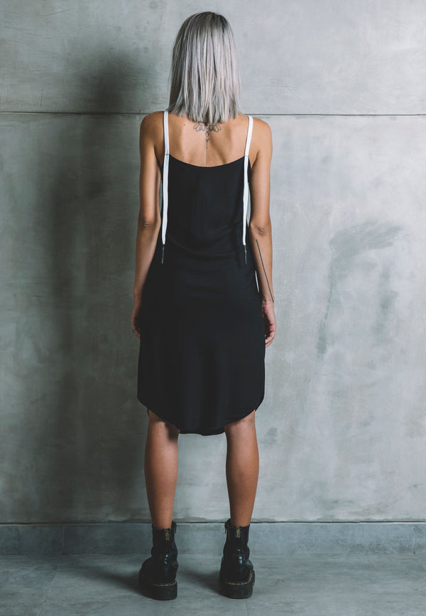 UNDERCOAT Lace Curved Hem Black Dress