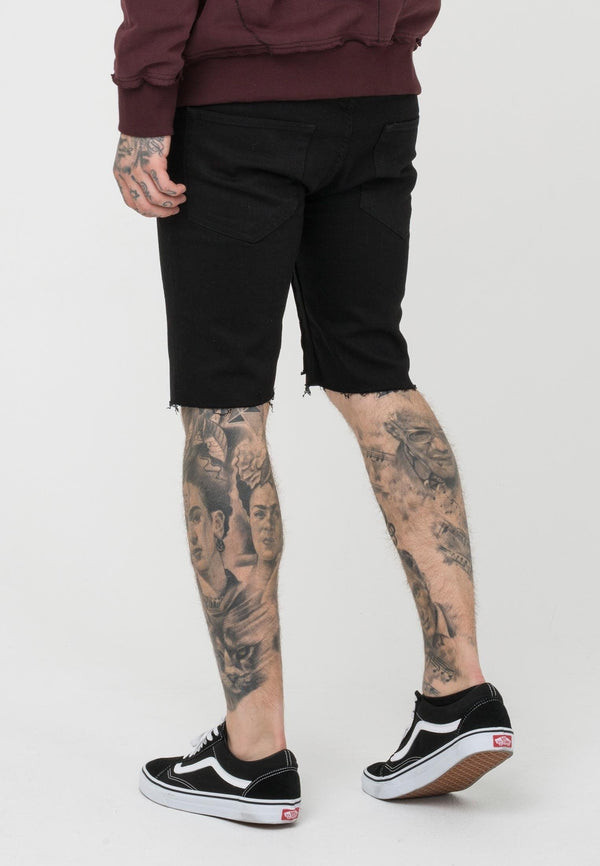 RELIGION Cross Bones Distressed Shorts