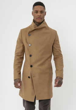 RELIGION Noirex High Neck Camel Coat