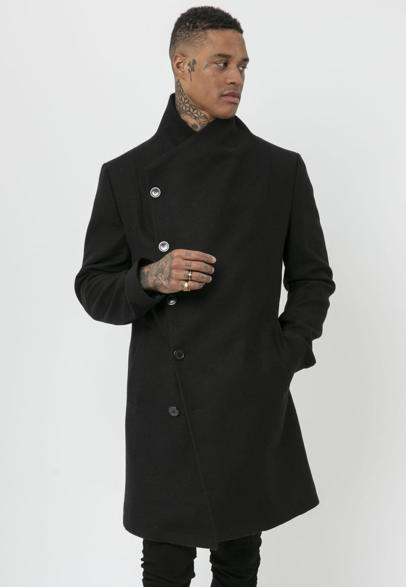 RELIGION Noirex High Neck Black Coat