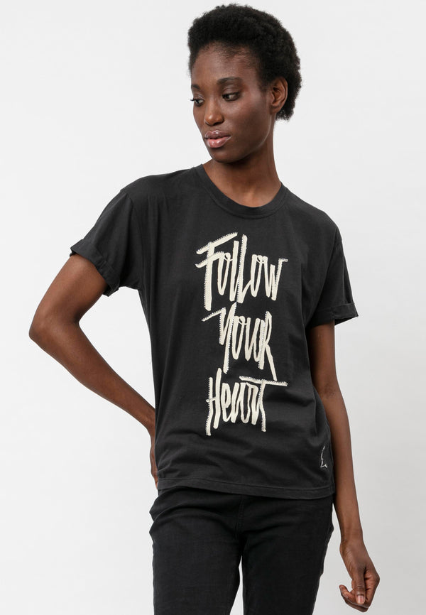 FOLLOW YOUR HEART T-SHIRT WASHED BLACK