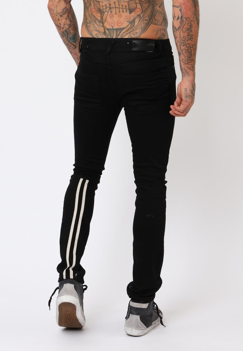 RELIGION Slim Noize Stripe Jeans Black