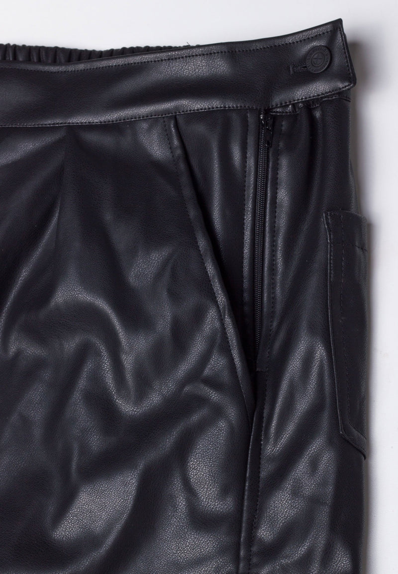 RELIGION Faux Leather Proteus Shorts Jet Black