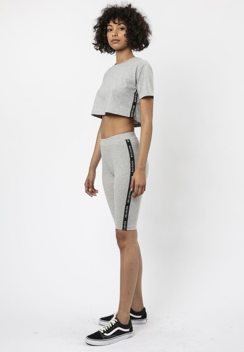 Religion Tranquil Cropped Grey Cycling Shorts Laura Barros