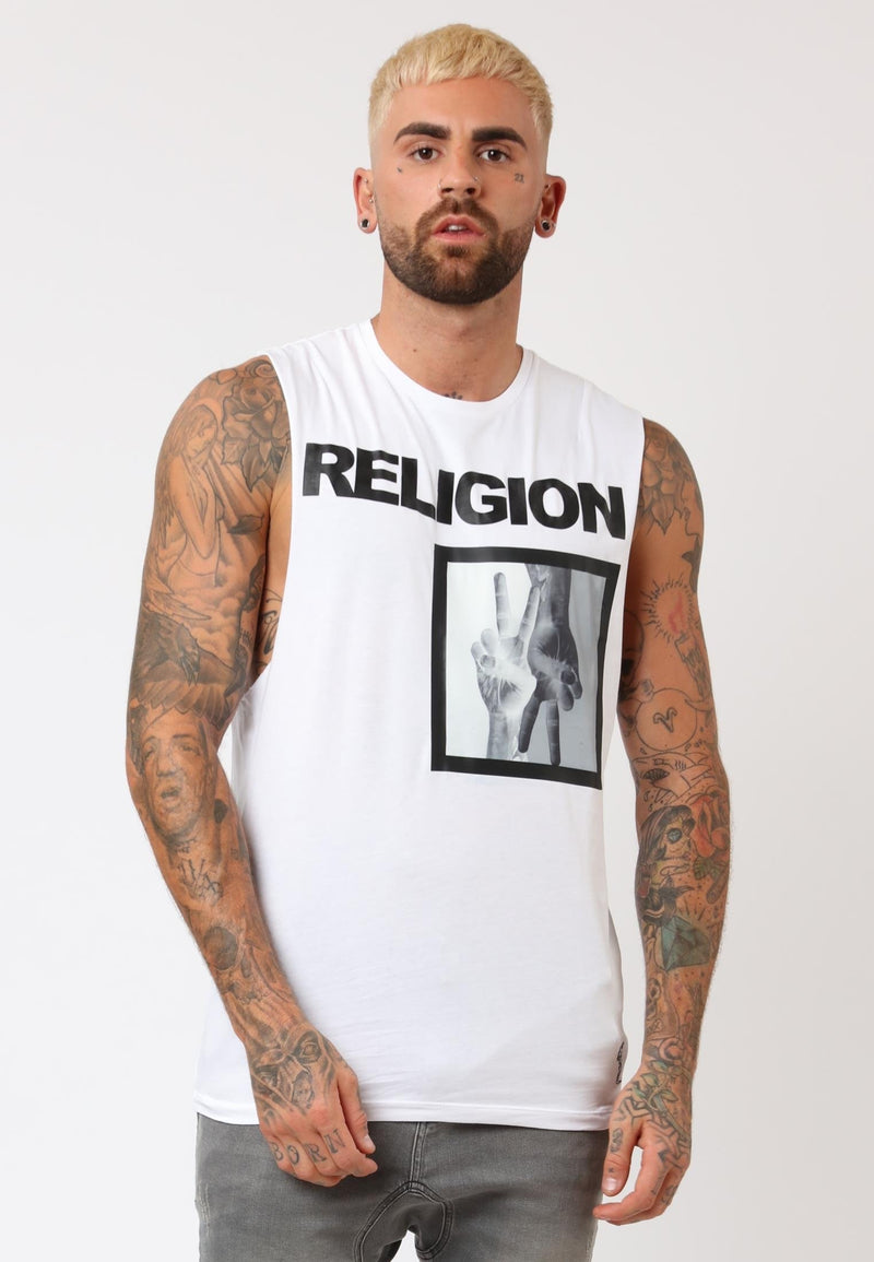 RELIGION Up Down Graphic Patch White Vest Chris Perceval