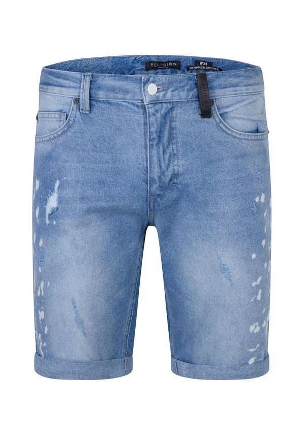 RELIGION Blurred Shorts Broken Blue