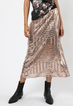 RELIGION Season Nude Sequin Skirt