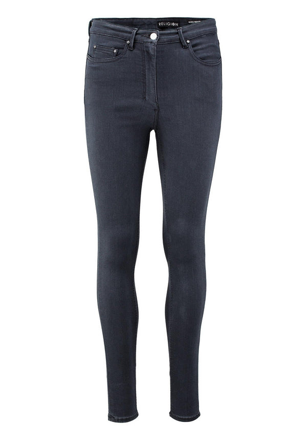 RELIGION Sacral High Waisted Skinny Jeans Grey
