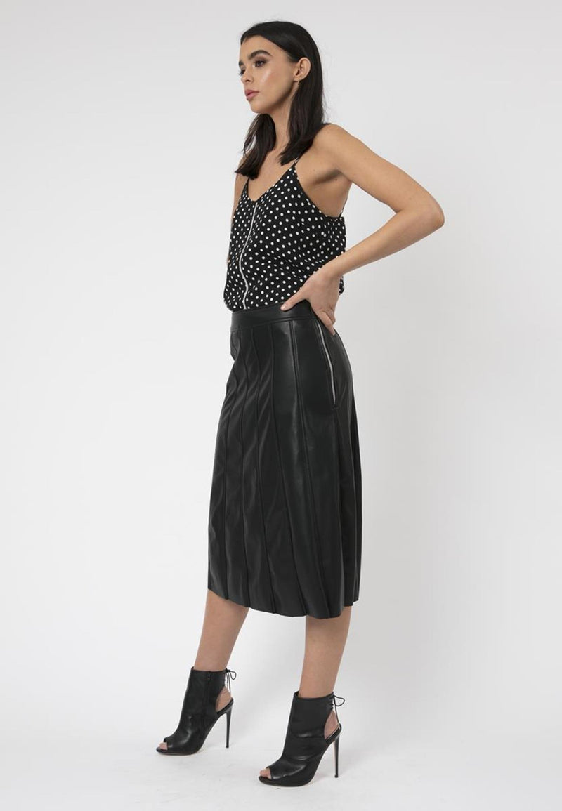 RELIGION Ara Black Polka Dot V-Neck Cami