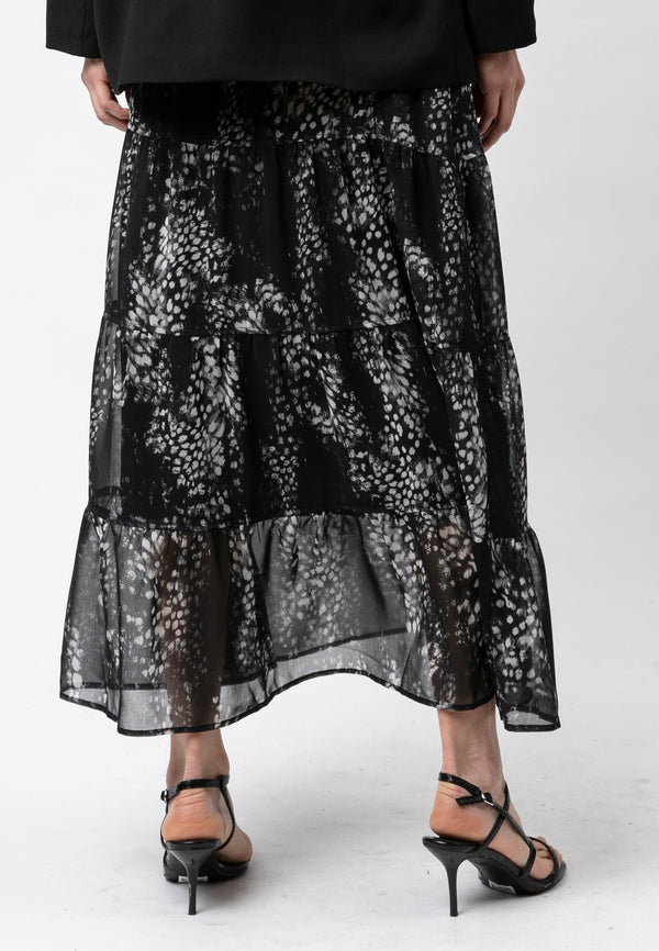 RELIGION Aspect Animal Print Maxi Skirt