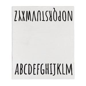 ALPHABET black and white knitted %100 cotton blanket