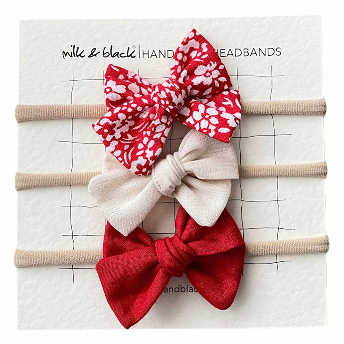 RED headband bow set