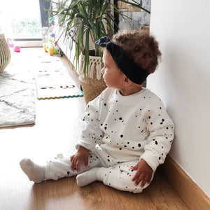 DOTTED cotton sweatshirt and jogger unisex tracksuit set