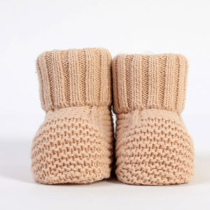 PURE beige knitted %100 cotton booties