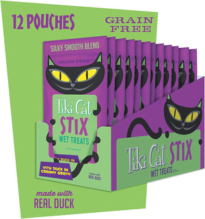 Cat Food, Tiki Cat Stix Wet Treats, Grain Free with duck and Creamy Gravy