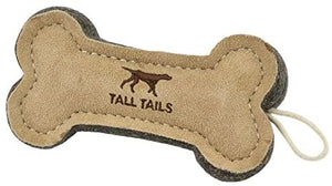 "NEW Tall Tails Bone Natural Leather 6"" Dog Toy"
