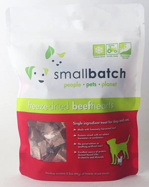 Small Batch Freeze Dried Natural Heart Treats, 3.5 Ounces (Beef)
