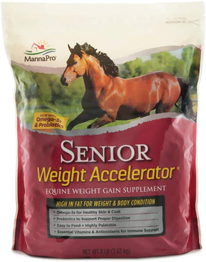 Manna Pro Weight Accelerator for Senior Horses | Made with Omega 3 Fatty Acids and Probiotics | 8 Pounds