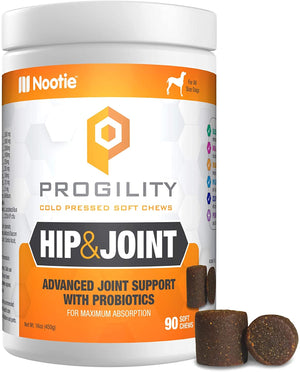 Progility Nootie Hip & Joint  Treats with Probiotics Chewable Glucosamine for Dogs, 90 Cold Pressed Soft Chews