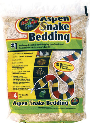 Zoo Med Laboratories Inc-Aspen Snake Bedding- Natural 4 Quart