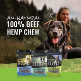 Relax Freeze-Dried Hemp Beef Chews for Dogs, Regulates Stress and Nervousness While Supporting Calmness 3 oz Resealable Pouch, 60 Chews