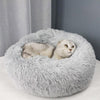 Round Plush Cat Bed House Soft Long Plush Cat Bed