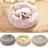 Round Plush Cat Dog Bed House Soft Winter