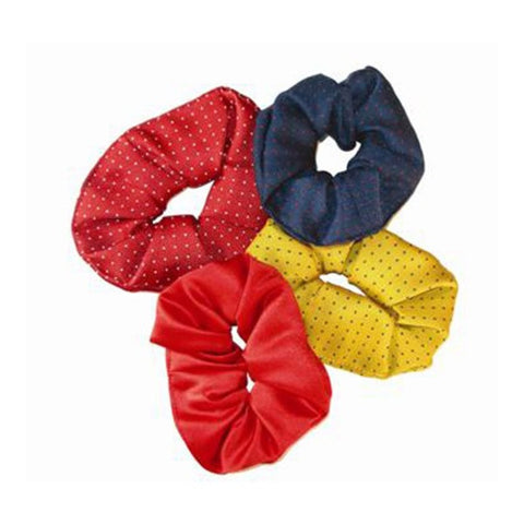 Coloured Show Scrunchies Yellow/Navy Spots