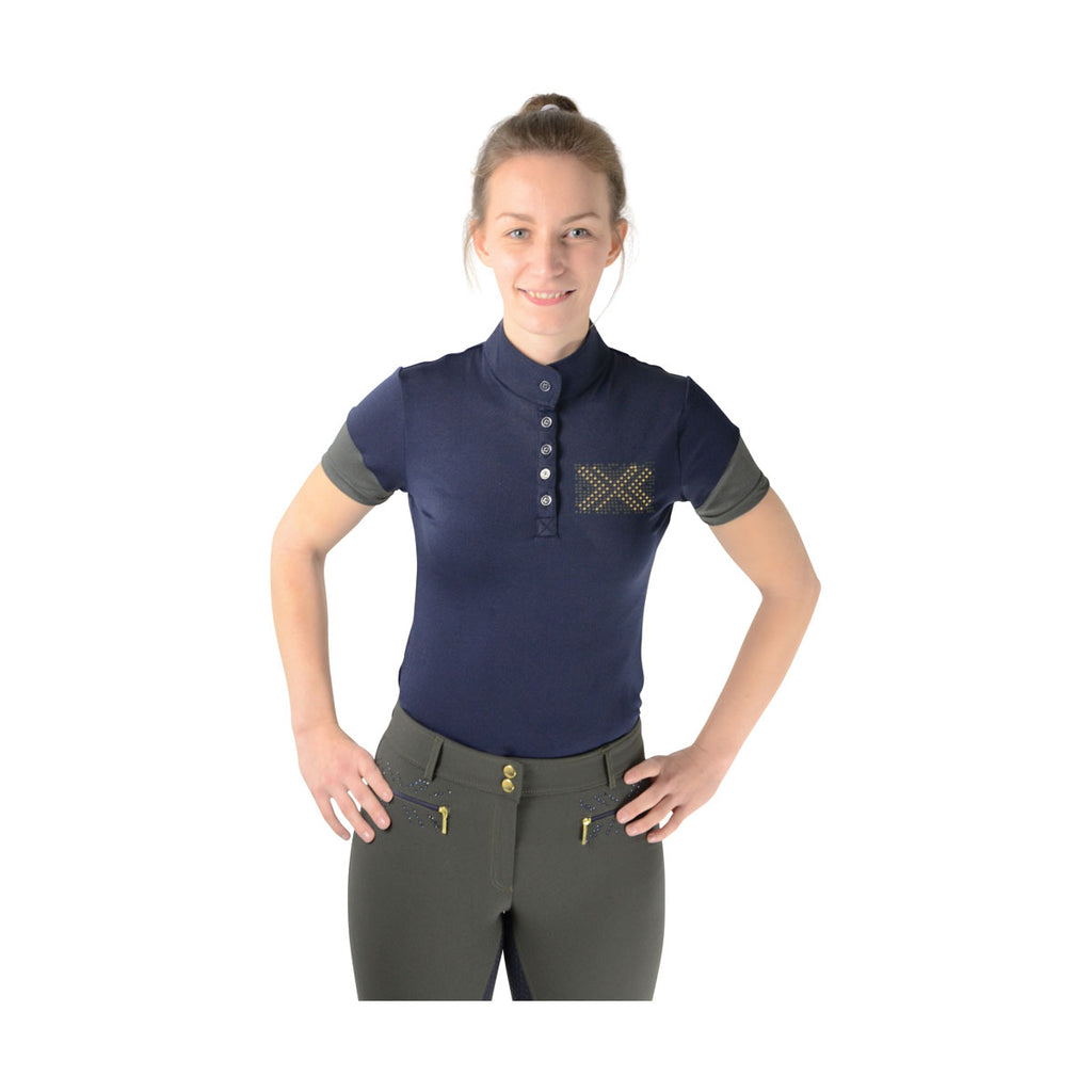 HyFASHION Edinburgh Ladies Sports Shirt Olive Green/Midnight Navy
