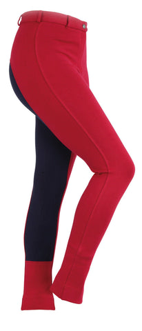 Shires Ladies Two Tone Wessex Jodhpurs - Red/Navy 34""