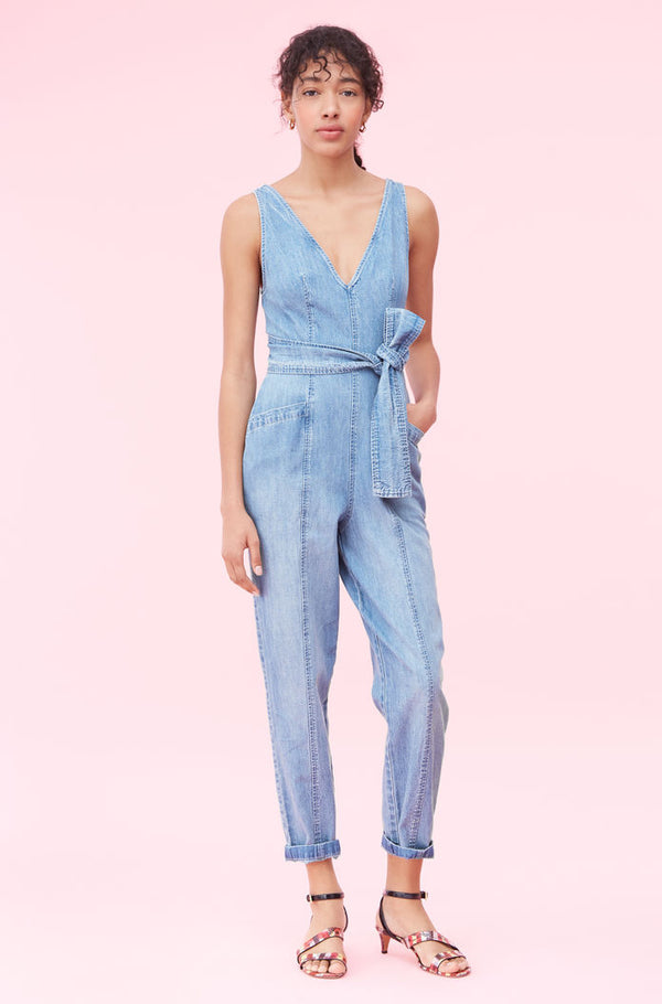 Le Vie Drapey Denim Jumpsuit