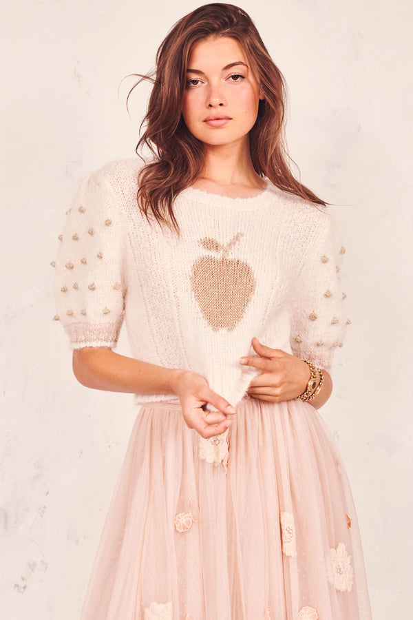 Love Shack Fancy, Love Shack Fancy Cyrielle Cropped Pullover, Cropped Sweater, Sweater