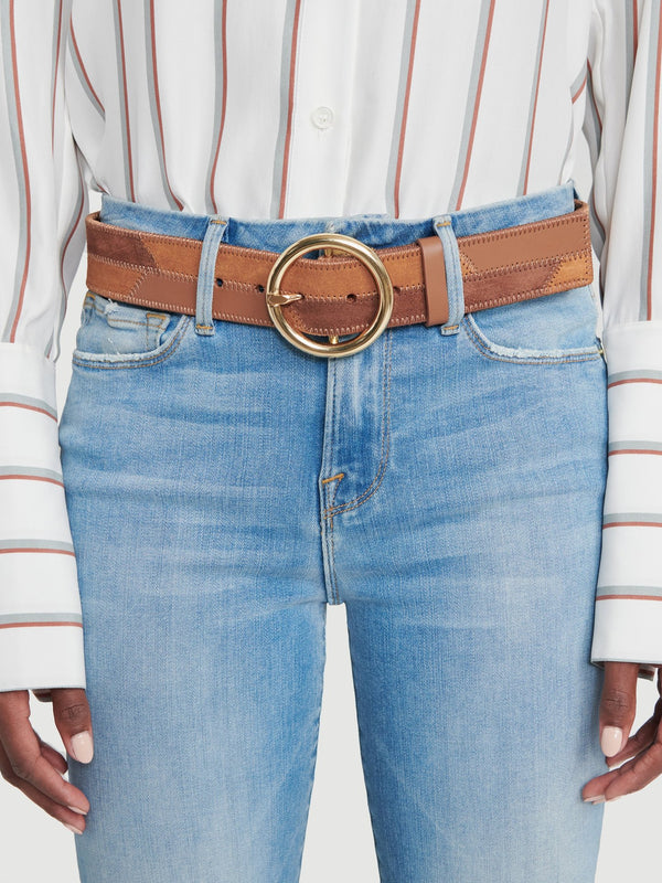 Frame Denim, O Ring Patchwork Belt, Suede Belt, Suede