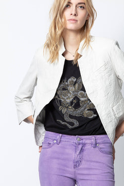 Zadig and Voltaire, Zadig and Voltaire Verys Crinkle Leather Jacket, White Jacket, White Leather, Leather Jacket