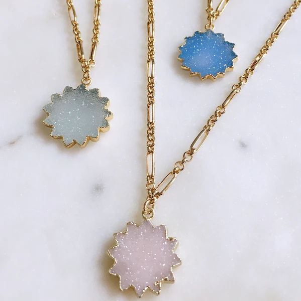 G2G Jewelry, G2G Necklace, Druzy Necklace, Starburst, Gold Necklace