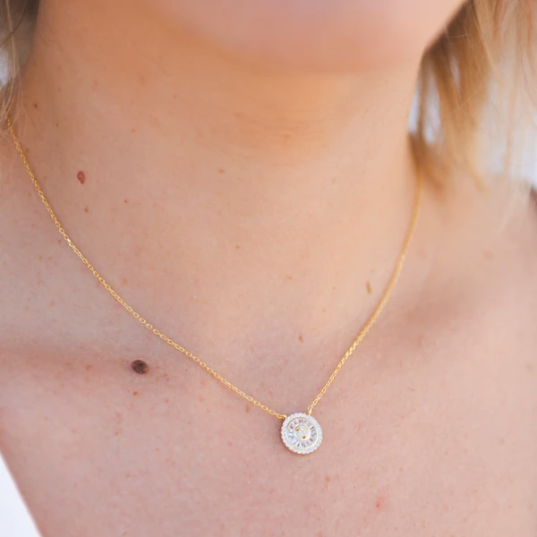 G2G Crystal Charm Necklace, G2g Charm Necklace, Gold Necklace, Charm Necklace