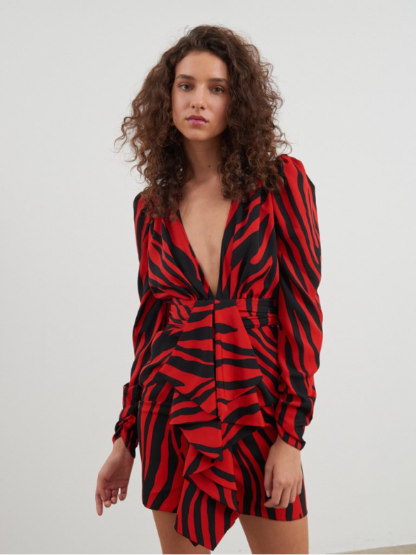 Ronny Kobo, Ronny Kobo Elsie Dress, Holiday Dress, Holiday 2019, Zebra Print Dress