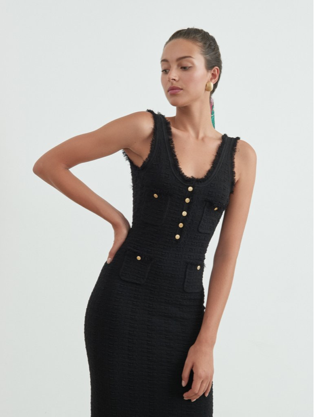Ronny Kobo, Ronny Kobo Nina Dress, Ronny Kobo Spring 2020, Spring Collection, Black Dress, Chanel