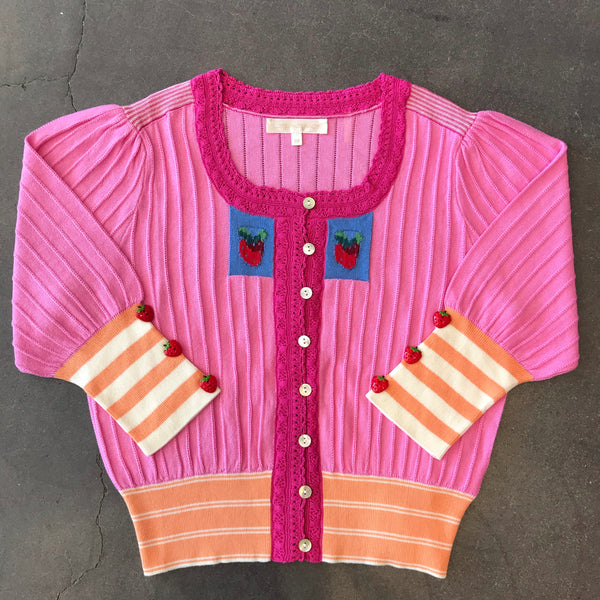 Love Shack Fancy, Love Shack Fancy Benny Cardigan, Love Shack Fancy Spring 2020, Spring Collection, Strawberries, Spring Sweater