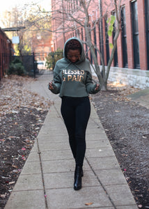 Metallic Gold Blessed & Paid Cropped Hoodie