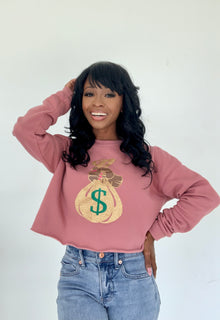 Pre Order Mauve Cropped Glitter Money Bag Sweatshirt