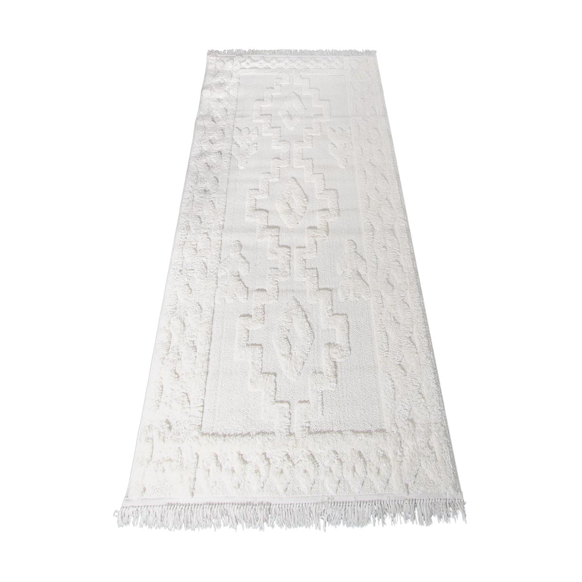 Atlas Rug 10 Cream Runner - Fringes 7