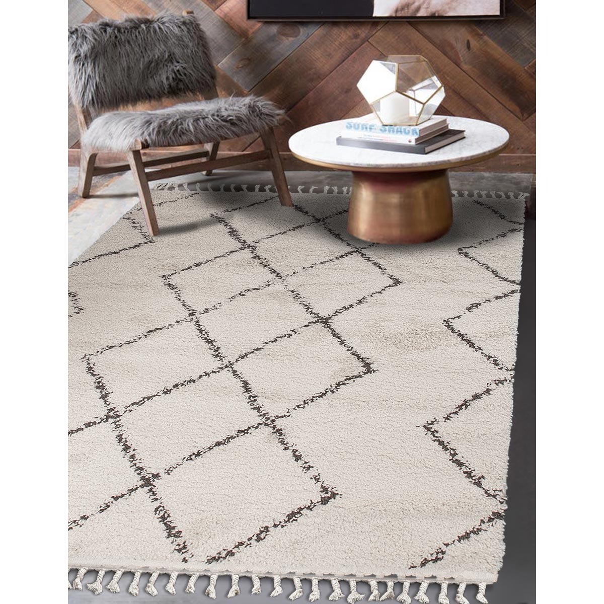 Shaggy Marrakech Rug 03 Cream/Black 2