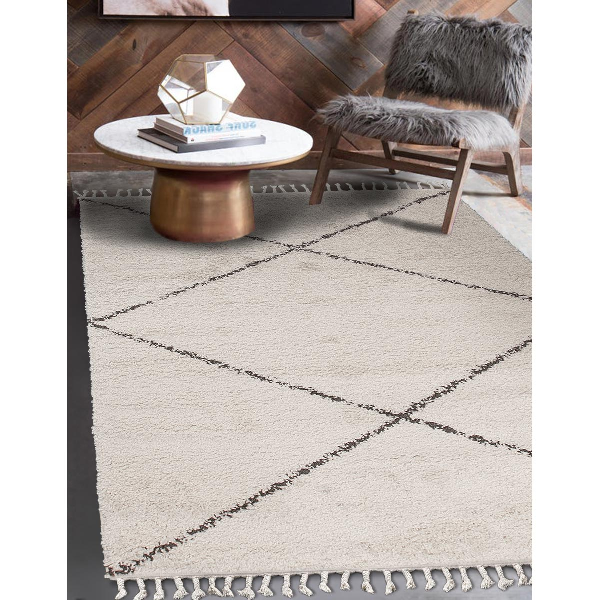 Shaggy Marrakech Rug 05 Cream/Black 2